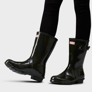 Hunter | Original Short Black Gloss Rain Boots